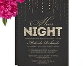 Glitter Look Hens Night Party Invitations - DIY Printable File