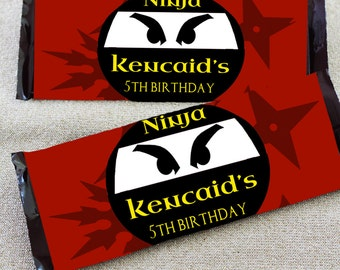 Ninja Candy Bar Wrappers | Candy Wrapper | Birthday | Ninja Birthday | Boy Birthday | Hershey Wrapper | Candy Labels | Party Favors