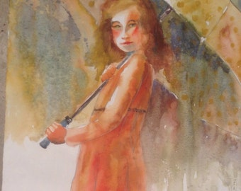 Child portrait, umbrella, polka dots, rain, original art, fine art