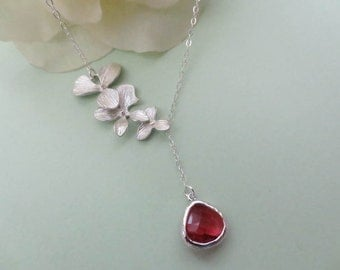 Ruby Glass Stone and Orchids Flower Lariat Necklace in STERLING SlLVER CHAIN--Perfect Gift for mom Birthday Present for her