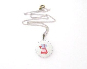 Holly Hobbie Necklace/ Strawberry Shortcake Necklace/ Retro Necklace/ Girl Necklace/ Girls Jewelry/ Children Necklace/ Kids Necklace
