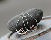 Teardrop geometric mixed metal hoops, triangle, arrow, oval hoops, sterling silver and copper or bronze and copper modern hoops, minimalist