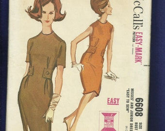 1960's McCalls 6608 Mid Century Raised Neckline Dress with Side Tabs Size 14 UNCUT