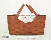 Vintage Holly Hobbie Picnic Basket with Hinged Lid and Handles ~ Farmhouse Cottage Chic Style