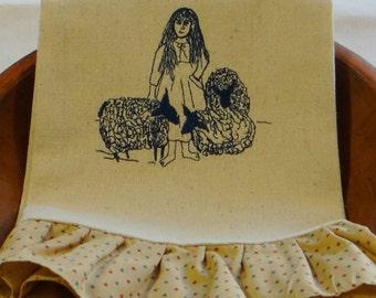 Kitchen Towel Dish Towel TeaTowel - Girl and Her Sheep Ruffled Osnaburg Towel