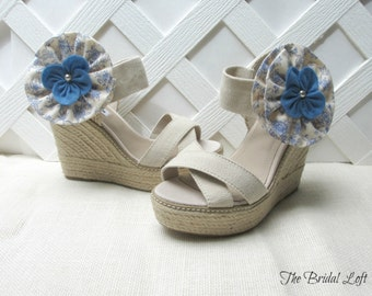 Blue and Ivory Shoe Clips, Blue Shoe Clips, Blue Shoe Accessories, Shoe Adornment, Matching Items Available
