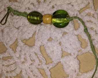 Green Beaded Zipper Pull (E 393)