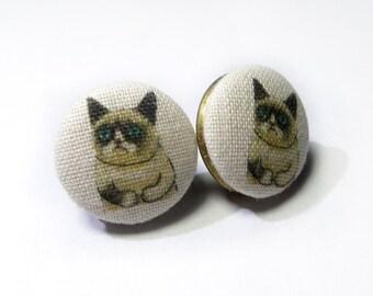 Grumpy cat stud Earrings, Fabric Covered Buttons Earrings, bronze tone rustic earrings, funny cat jewelry earrings, fabric buttons jewelry