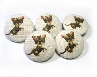 Fabric covered buttons brown tabby Cats Kitten Handmade Animal buttons, bag purse buttons, children buttons, sewing buttons, sweater buttons