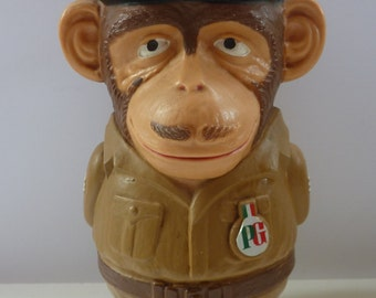 ATTENTION! Rare 1970s Vintage Sergeant Chimp Hard Plastic Money Box or Bank. Advertising Collecable