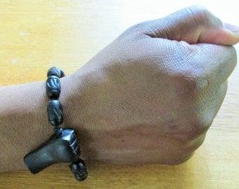 Adjustable Fist Bracelet with Black Beads