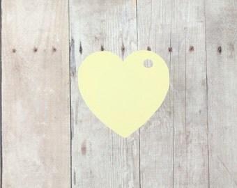Light Yellow Heart Shaped Tags Set of 20 - Bridal Shower Tags - Wedding Favor Tags - Light Yellow Heart Tags - Lemon Valentine Tags