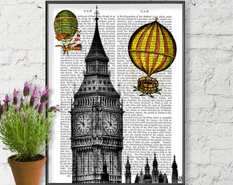 Vintage Hot Air Balloon Print & Big Ben Print - London print london gift london art print london poster british decor london decor wall art
