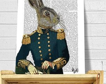 Lieutenant Hare : Military Print, rabbit print Wall Art Wall Decor, steampunk hare art print gift for men him digital painting digital print
