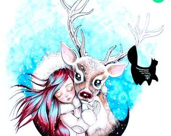 Digital stamp- Aurora ' Reindeer ' - 300 dpi 2 JPEG/PNG files - MAC0132