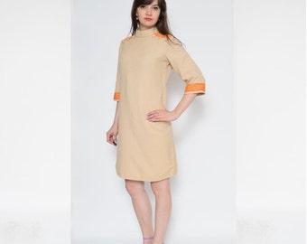 Vintage 70's Beige Scandinavian Design Wool Shift Dress