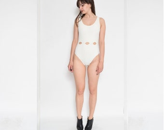 Vintage 80's White Cut Out One Piece  Swimsuit