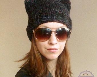 Black Cat Ears Beanie, Blackstone Cat Ears Hat, Handmade Kitty Cat Hat, Chunky Knit Hat, Hand Knit Beanie, Winter Hat, Fashion Accessories
