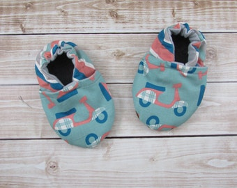 Scooter Baby Booties, Scooter Soft Sole Baby Shoes, Toddler Shoes, Blue Coral Pink, Scooter Booties Girl Boy Neutral, Slippers, Infant