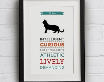 Bengal Cat Breed Traits Print - Great Gift for Bengal Cat Lovers
