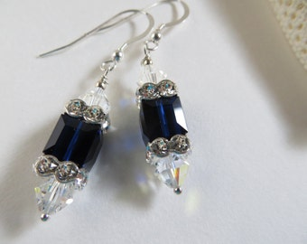 Swarovski earrings, Indigo Blue earrings, Crystal earrings, Blue earrings, Sterling Silver earrings, Silver earrings, Swarovski Crystal