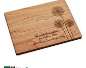 Mothers Day Personalized Engraved Cutting Board with Dandelion design, Custom Cutting Board, from us,