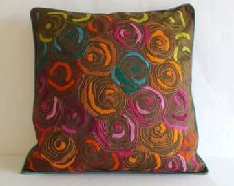 """SALE - 18""""x18"""" Decorative Pillows, Multi-Color Floral Embroidered Pillow, Dark Brown Square Pillow - Ready to SHIP"""