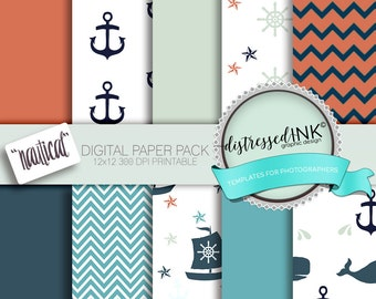 NAUTICAL DIGITAL PAPER printable scrapbooking invitations card making