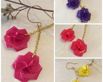 Rose on a Chain Origami Earrings (Brights)
