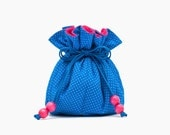 Jewelry Bag Cobalt Blue & Pink, Classic Blue Bridesmaids Gift, Hostess Gift, Summer Wedding Party Pouch, Essential Oils Holder, BFF Gift