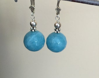 Sterling Silver Blue Leverback Earrings