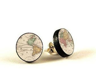 World Map -  handmade stud earrings - decoupage, World Map Jewelry, Map earrings