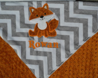 Personalized Baby Blanket 30x36, Fox Baby Blanket, Custom Blanket, Minky Baby Blanket, Made to Order