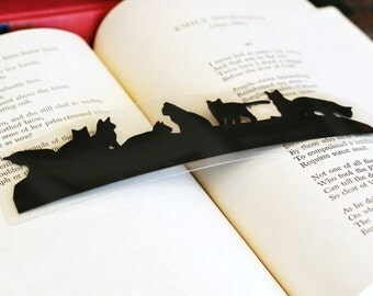 Cats Bookmark - Hand-cut Silhouette, Cat Silhouette, Kittens, For Kids, Cat Owner Gift