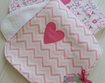 Chevron Pink Baby Girl Burp Cloths;  Set of two