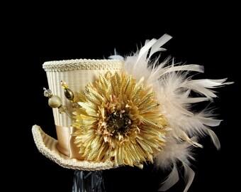 Ivory Cream Striped Flower Large Mini Top Hat Fascinator, Alice in Wonderland, Mad Hatter Tea Party, Derby Hat