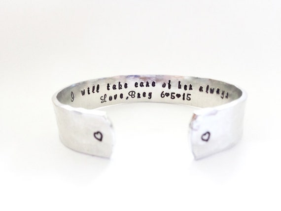 Mother in Law Gift, Secret Message Cuff Bracelet, I will take care of her always, Hammered Textured, Custom Stamped By Timeless Maiden