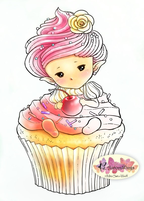 whimsical cupcake coloring pages - photo#11