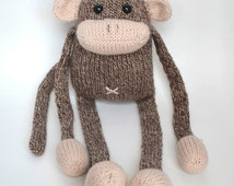 Jerry the Musical Monkey Handmade Knit Plush Stuffed Animal Toy Softie Doll - Brown Tweed