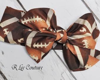 Football Headwrap - Bow Headwrap - Football Head Wrap - Football Hair Bow