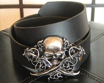 Pirate Leather Belt with Skull Buckle