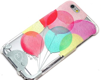 Elephant With Balloons Clear Phone Case iPhone 6, SE, 6 Plus, 6S, 5, 5C, 5S, Galaxy S6, S7, Note 4, Note 5