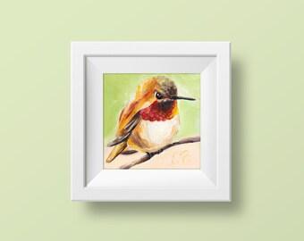 Hummingbird wall art Hummingbird print Bird art print Cheap wall art Fine art prints Orange bird wall decor Prints of paintings Small 4x4