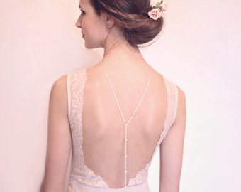 pearl - Backdrop Necklace, Bridal Jewelry, Back Drop Necklace, Back Necklace, Pearl Back Necklace, Back Chain