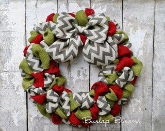 Chevron Burlap Christmas Wreath, Holiday Wreath, Year Round Wreath, Christmas Decor, Front Door Wreath