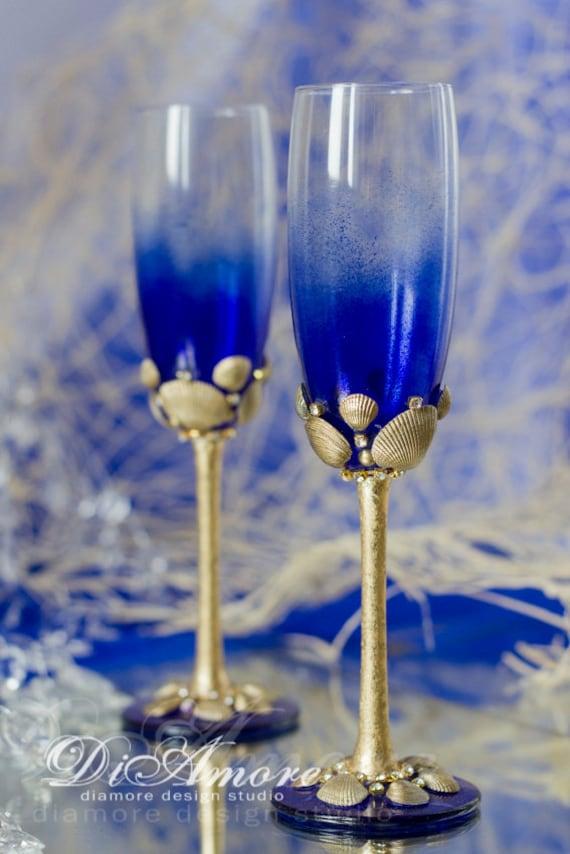 Personalized Beach Wedding Champagne Flutes Sea Wedding