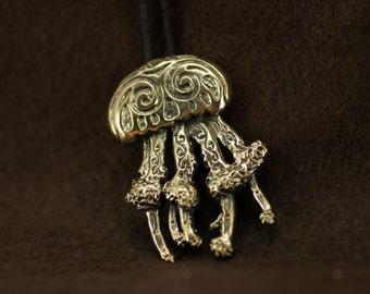 Jellyfish bronze pendant necklace