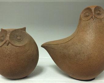 Modernist Pottery Owl Pair by Joan Priolo 1960's  // VERY RARE // California Studio Pottery