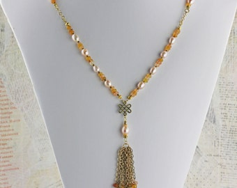Long tassel necklace with pearls and butterscotch hessonite garnets, gold tassel necklace