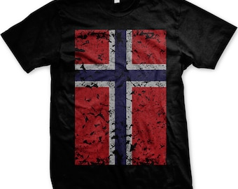 Norway Flag Men's T-shirt, Norway Flag Shirt, Vintage Faded Norwegian Flag, Norge, Norway Pride Shirt, Men's Norway T-shirts GH_000254_tee